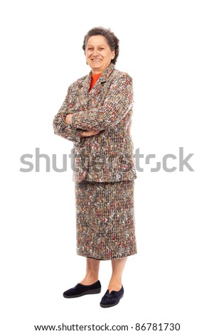 Full length portrait of a happy senior woman isolated on white background