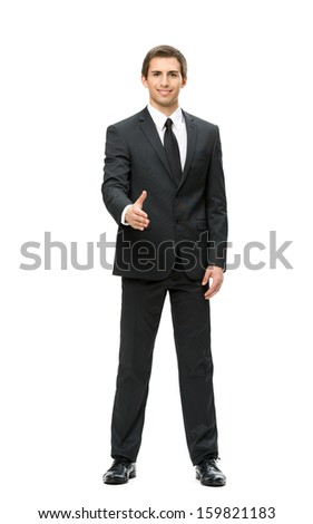Full-length portrait of business man handshake gesturing, isolated. Concept of leadership and cooperation
