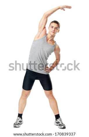 Full length portrait of young man athlete doing exercises isolated on white background