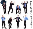 Full length portraits of a funny businessman in various expressions - stock photo
