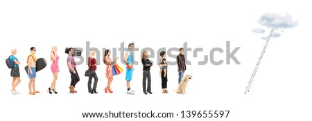 Full length portraits of people in a queue waiting to climb a ladder with clouds, isolated on white background