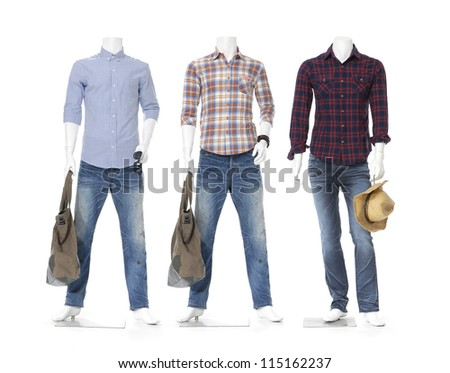 full length three male mannequin dressed in jeans with bag,hat