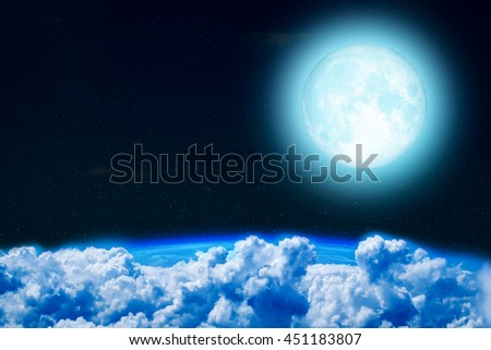 Full moon night and Earth with white clouds , Elements of this image furnished by NASA