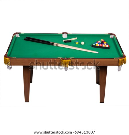 Full Pool Billiard Table With Green Top, Balls, And Cue On White Isolated  Background