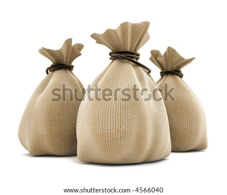 full sacks agricultural isolated 3d model illustration