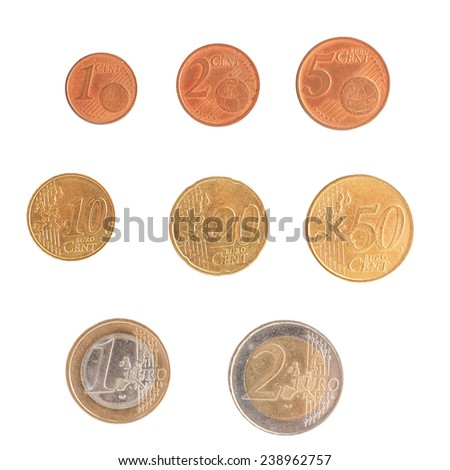 Full series of Euro coins currency of the European Union isolated over white
