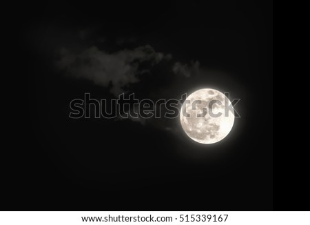 full super moon in the dark sky