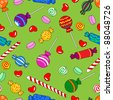 Fun seamless pattern made of all kinds of colorful candy including lollipops. - stock vector