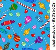 Fun seamless pattern made of all kinds of colorful candy including lollipops over bright blue background - stock vector