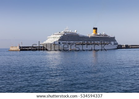 FUNCHAL, MADEIRA - SEPTEMBER 7, 2016: Costa Cruises cruise ship Costa Magica docked in  Funchal harbor, Madeira