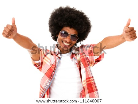 Funky afro man with thumbs up - isolated over a white background