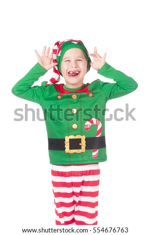Funny adorable elf showing tongue on isolated white