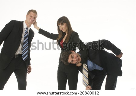 Funny Business Team with powerful woman