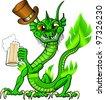 Funny cartoon chinese water dragon celebrating St. Patrick's Day - stock photo