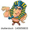 Funny cartoon egyptian pharaoh - stock photo
