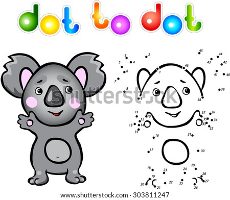 Funny cartoon koala dot to dot. Illustration for child