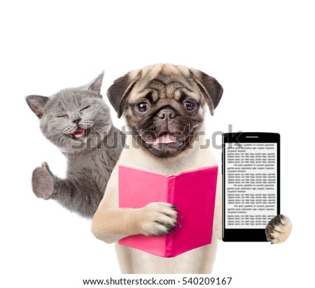 Funny cat and smart puppy with book and smartphone. isolated on white background