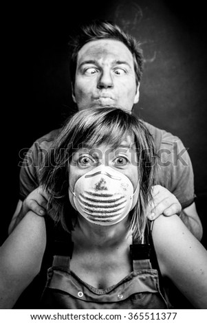 Funny couple with mouth masks on