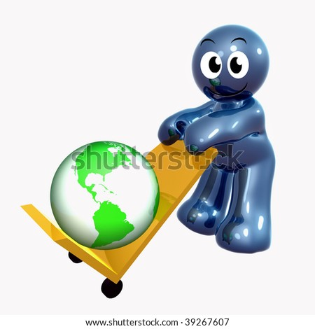Funny 3d icon holding world cargo