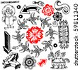 funny doodles, hand drawn design elements isolated on white background - stock vector