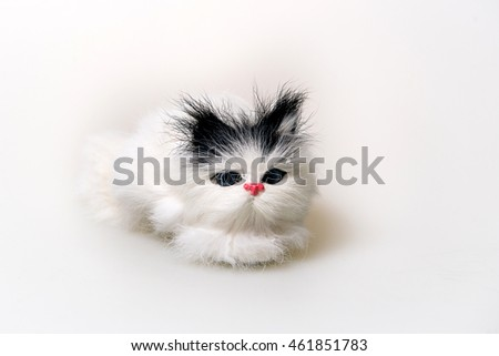 Funny handmade toy cat isolated on white, Pattern Fabric