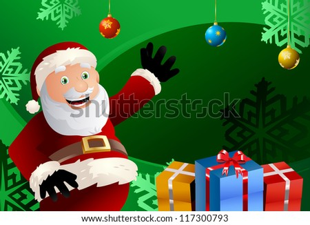 Funny illustration of a santa claus who seems happy after put gifts on ...