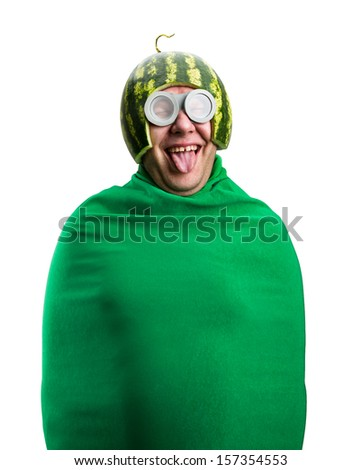 Funny man with watermelon helmet and googles looks like a parasitic caterpillar. Isolated on white