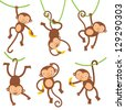 Funny monkeys set - stock vector