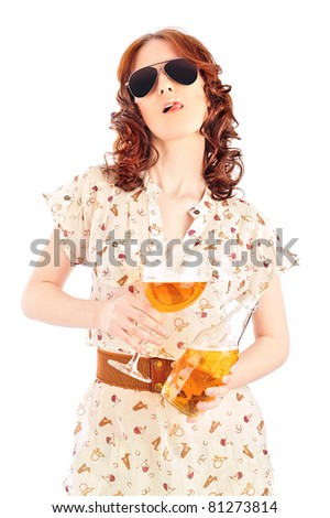Funny oktoberfest beer holding woman isolated on white background