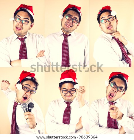 Funny Santa, Business male wear Santa hat in funny six actions