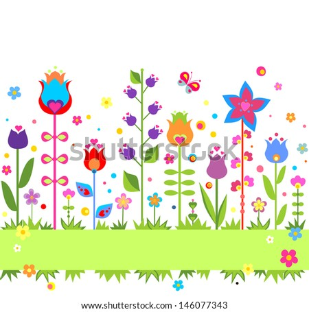 Funny seamless border with tulip. Raster copy of vector image