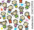 funny seamless pattern with hand drawn kids - stock vector