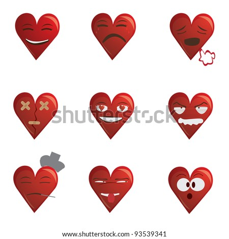 Funny simple collection of illustration of valentines  heart's red faces cartoon conveying different emotions, isolated in white background.