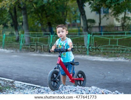 Funny two active little boys riding on bicycle on warm summer day. Countryside. Active leisure and sports for kids.