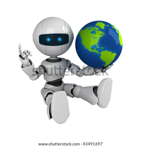 Funny white robot sit with globe