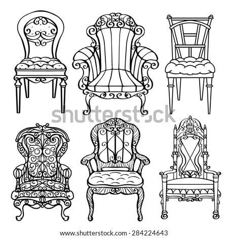 Furniture Hand Drawn Set, Vintage Chair, Armchair, Throne Front View  Closeup, Black
