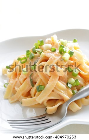 Fusion pasta, Japanese Mentaiko spicy fish roe and fettuccine with spring onion