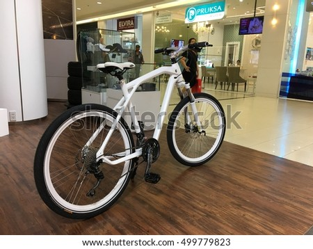 Future Park Rangsit, Pathum Thani, THAILAND-Aug. 29, 2016. BMW bicycles exposed. BMW unveiled third-generation bicycles: New model, including casual hybrid, burly mountain bike and high-tech cruiser.