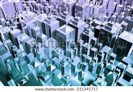 Futuristic Abstract Design Color Art with Blocks