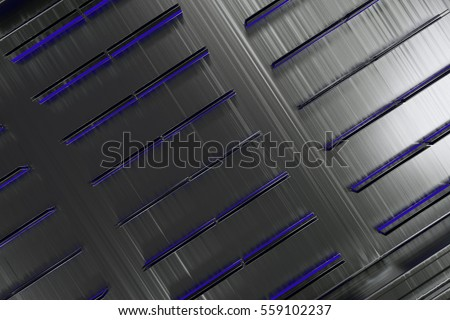 Futuristic technological or industrial background made from brushed metal shapes with glowing lines and elements. Abstract background. 3D rendering illustration.