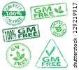 G M free food. Rubber stamp illustrations - stock vector