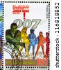 GABON - CIRCA 2006: stamp printed by Gabon, shows Poster, James Bond, circa 2006 - stock photo