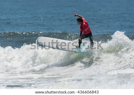 GAIA, PORTUGAL - JUNE 10, 2016: Piccolo Clemente (PER) at LQS Longboard Pro Gaia Men's Longboard Tour #3.