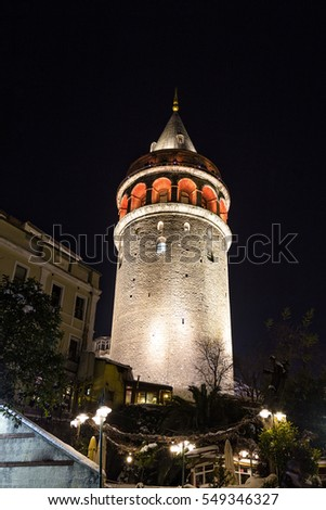 Galata Tower in istanbul at night view (The nine-story galata tower is 66.90 meters tall)