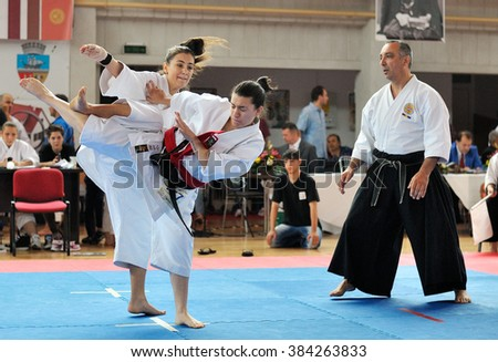 GALATI, ROMANIA - MAY 30: Contestants participating in the European Karate Championship Fudokan 2014 in Galati, Romania on May 30, 2014.