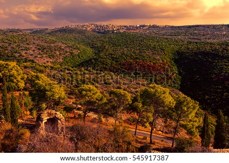 Galilee mountains arab settlement in Israel at sunset. Panorama of Galilee- the Northern District of Israel