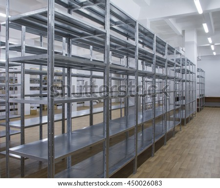 Galvanized shelves in the warehouse