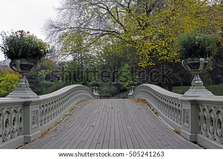 Gapstow Bridge is one of the icons of Central Park, Manhattan in New York City during rain storm