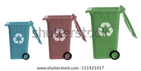 Garbage Bins on White Background