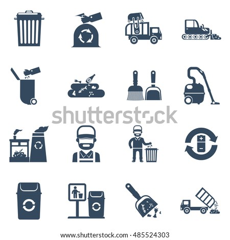 Garbage disposal black icons set with cleaner garbage can recycling plant isolated  illustration